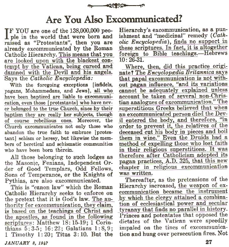 excommunication denounced by jehovah's witnesses